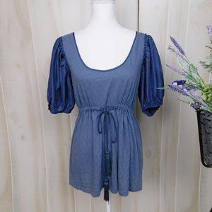 Deletta Blue Puffed Sleeve Blouse